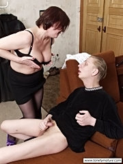 Aged babe relaxing with young hot neighbor