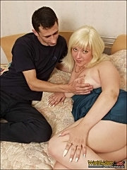 Fat horny mature blonde gets it on with her lover