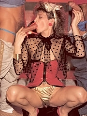 Dirty retro chick loves to please two cocks