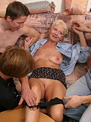 Three guys dirtily doing mature woman in her house while she is alone