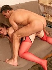 Nasty faiya in red stockings suck den's dick and have sex with anal penetration and facial action