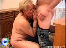 Horny young fucker shoves his dick deep inside wet old fat pussy