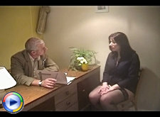 Granny on a job interview ends up fucking dick