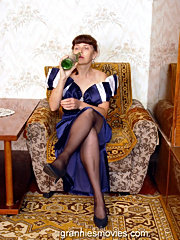 Harlot drunk granny has her wide hairy beaver hardly drilled on the table