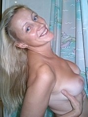 Amateur wife with big tits showing her hairy pussy