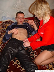 Blonde mom in pantyhose gags on fresh meat