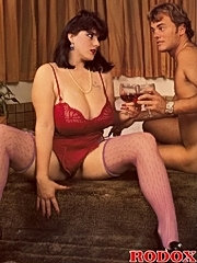 Retro busty and hairy slut gets cumload on tits