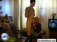 Shy stud learns joys of sex from this drunken older slut and she really knows how to pleasure the man even though she's really drunk