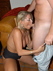 Hot blonde milf babe catches a hot facial here in these pictures