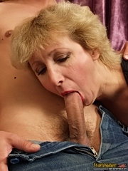 40 y.o. blonde sucks young fella's dick and spreads her wet twat for some deep fucking