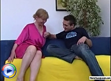 Blonde milf undress her new just seduced handsome lover and ride his big dick