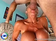 Shaved babe on cock licks old tits of mature tart