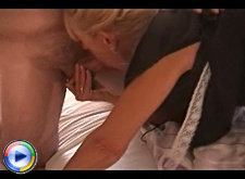 Blonde granny maid services two gentlemen at once