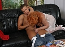 Mature redhead doggy floor action mature facials