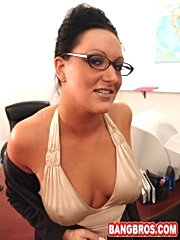 Thick mommy gets cum on her glasses