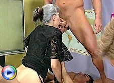 Two big titty grannies are cock stuffed together