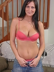 Gorgeous busty brunette fucks young stud