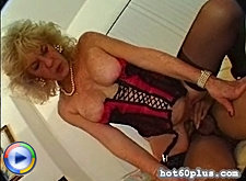 Granny slut sucking and fucking young cock