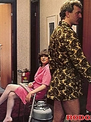 Horny seventies maid blowing an hotel guest