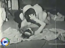 Vintage videos of a young couple fucking hard on a floor without condom