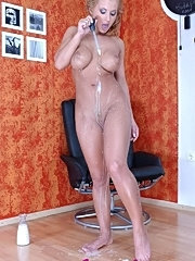 Girl undresses on chair