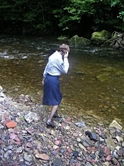 Exhibitionist wife in the river
