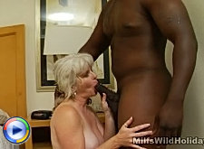Naughty milf gagging on a plump ebony meat sword