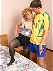 Aged hot hooker riding on a young cock
