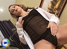 Tempting milf janine shows off her pretty pink pierced pussy
