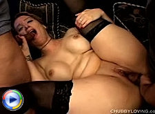 Chubby girl with massive tits and stockings