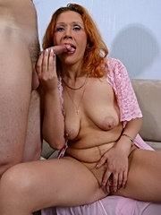 Mature redhead has her young student lick her wet cunt and gives him killer blowjob