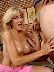 Round tit blonde lexi sits her sweet shaved pussy on a cock