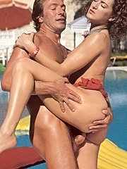 Seventies lady enjoys dick in a swimmingpool