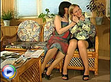 Girl licking pretty mature woman through pantyhose