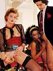 Seventies ladies using a dick and a banana