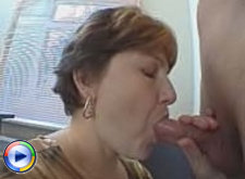 Plump mature lady gets naked in front of her boss & spread legs for hard fucking