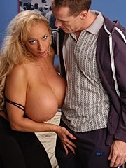 Blonde milf with massive tits gets screwed