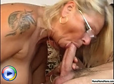 Sex-hungry blonde mommy takes her young neighbor's dick deep inside her mouth