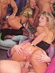 Two seventies ladies fucked by three studs