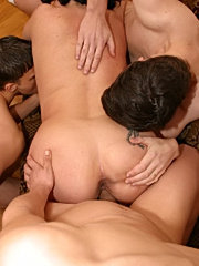 Horny guys stripping and fucking mom on couch