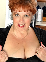 Old redhead granny mature old slut licking breasts