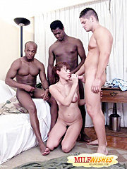 Sexy mom gets picked up in a park and triple-teamed by a handsome white guy and two horny blacks