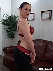 Pony-tailed mom bends over the desk for it