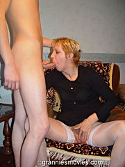 See unabashed sex scenes with uninhibited grannies having oral fuck with boys