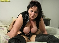 Big titted mature slut sucking and fisted