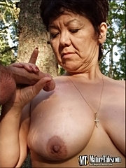 Mature slut suck fuck two soldiers outdoors