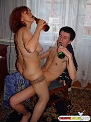 Drunk mature woman and her lover