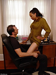 Office milf shows her assets and skills