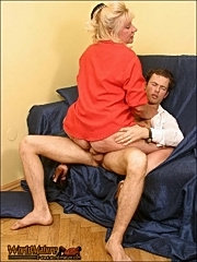 Aging blonde has fun fucking with the courier at her office