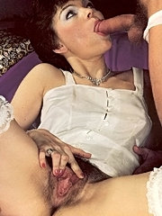 Hairy retro lingerie lady hungry for a cock